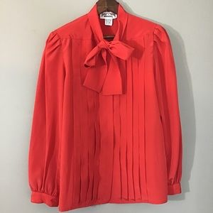 Vintage 70s 80s Red Pussy Bow Secretary Blouse